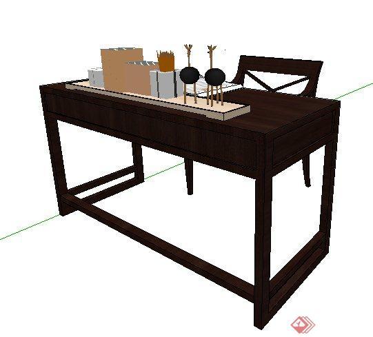 中式风格书桌椅及书柜su模型,包括书桌椅、书柜、书籍及陈设摆件,模型设计整体美观大方,制作精细,材质贴图完整,有需要自行下载。
