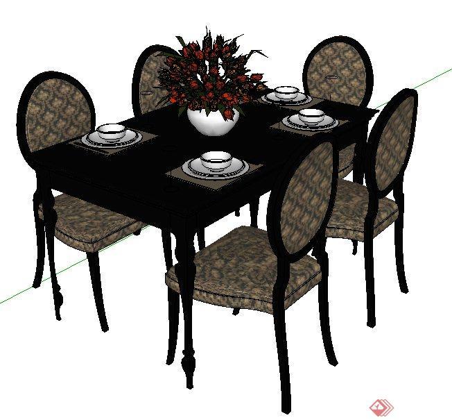 欧式风格餐桌椅组合su模型,包括餐椅、餐桌、餐具、花瓶,模型制作细致完整,附带材质贴图,可以直接下载使用。