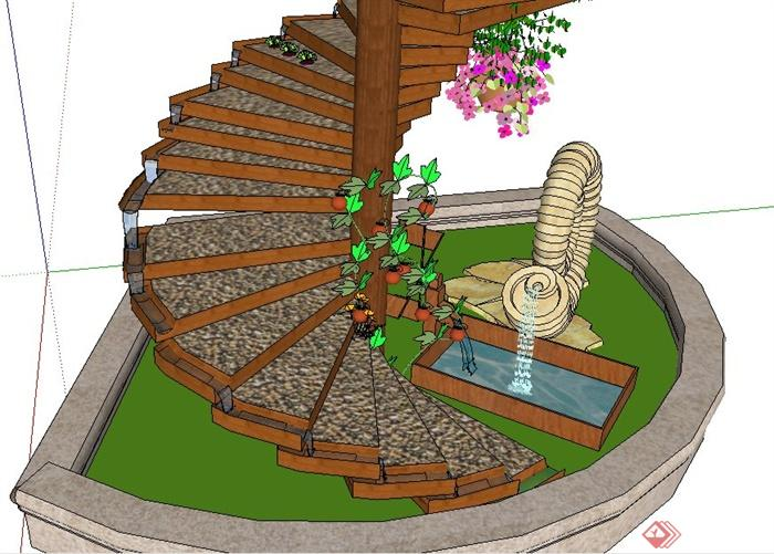 现代风格喷泉跌水旋转楼梯su模型