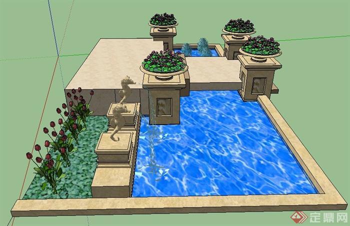 现代简约喷泉水景设计su模型