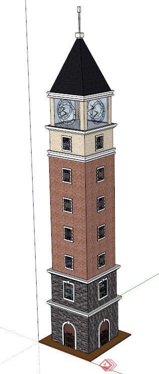 欧式钟楼建筑设计su模型