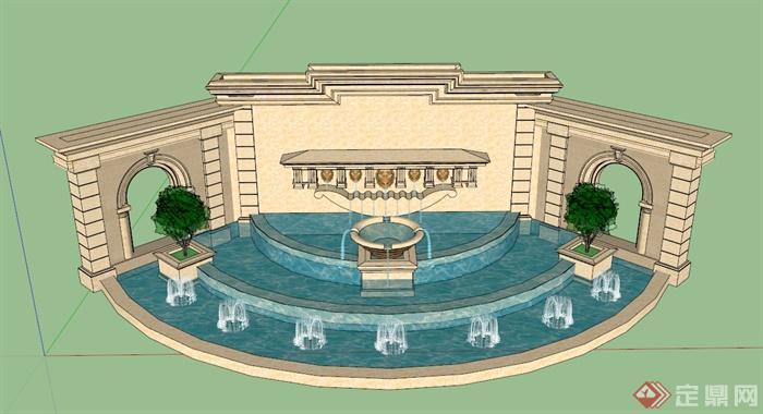 欧式特色水景墙设计su模型