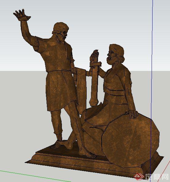 罗马风格人物雕塑设计su模型