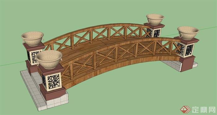 新中式木拱桥设计su模型(1)