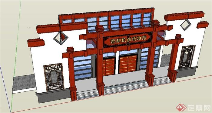 现代中式博物馆大门设计su模型(3)