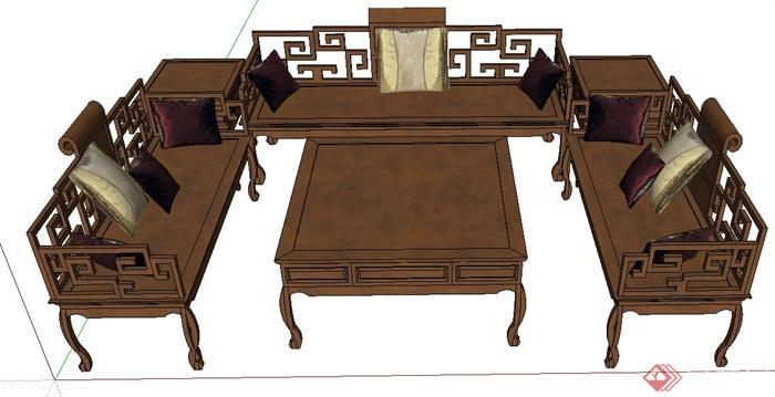 中式风格木制沙发茶几su模型