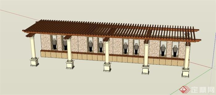 廊架景墙组合设计su模型