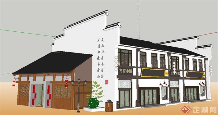 徽派中式风格沿街商铺建筑设计su模型(1)图片