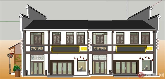 徽派中式风格沿街商铺建筑设计su模型(2)图片