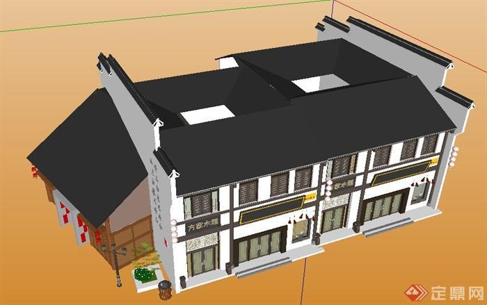 徽派中式风格沿街商铺建筑设计su模型(4)图片