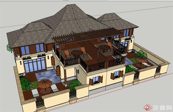 东南亚风格双拼别墅建筑及庭院设计su模型