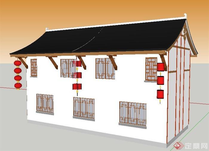 现代中式风格二层民居建筑设计su模型