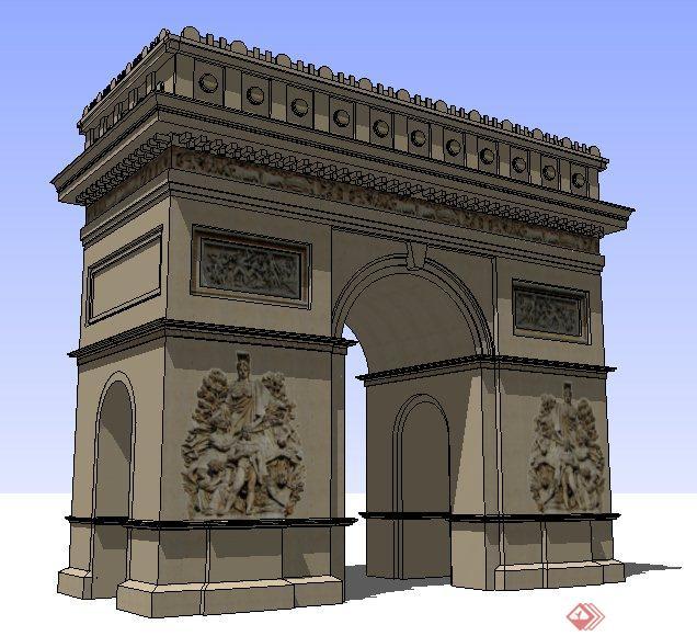 某欧式风格入口大门设计su模型