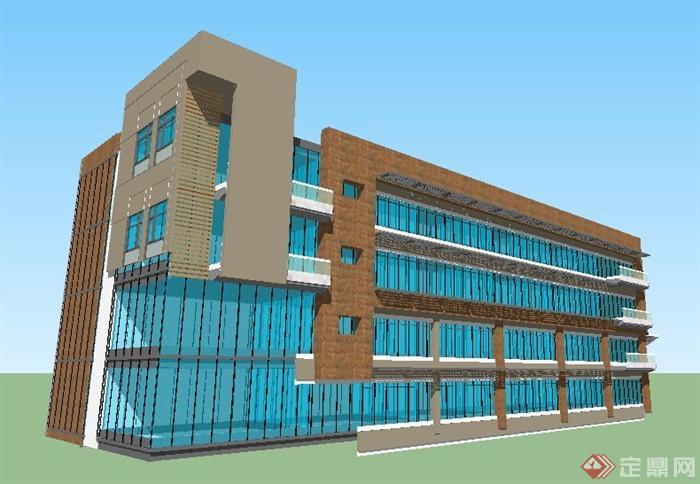 某地现代模型四层办公楼建筑设计su风格行吗v模型ui设计软件计图片