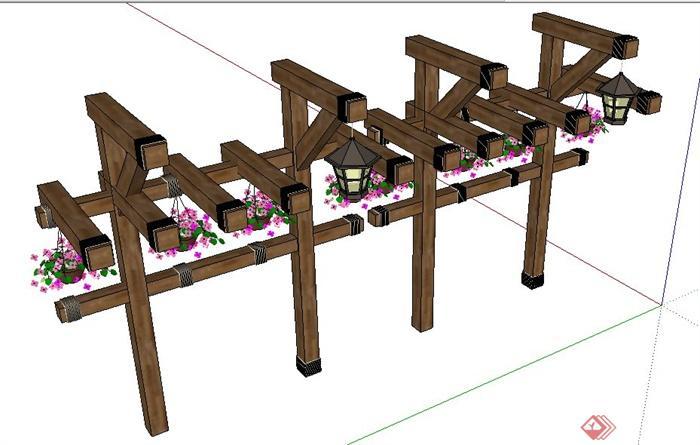 现代中式风格木制花架su模型(3)