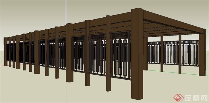 现代中式木制停车棚廊架设计su模型