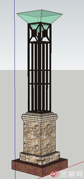 现代中式风格景观灯柱su模型