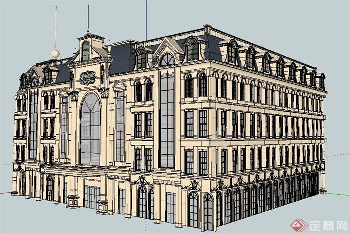 欧式风格三角形五层会所建筑设计su模型
