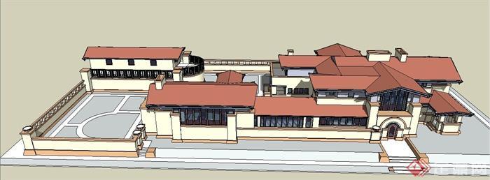 国外某欧式风格酒店建筑设计su模型