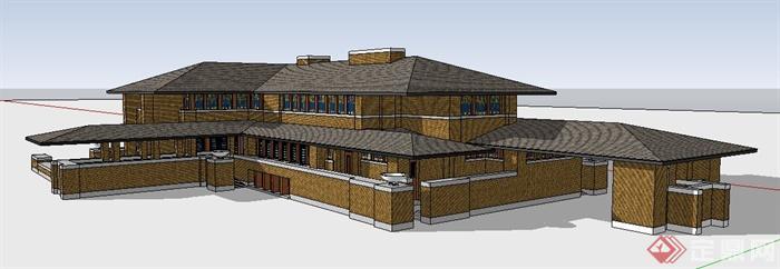 国外某草原风别墅住宅建筑设计su模型