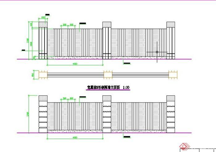园林景观围墙设计cad详图