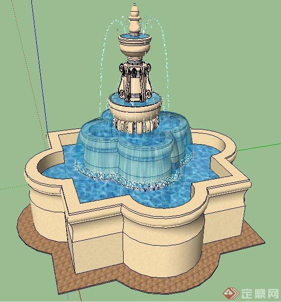 欧式风格喷泉水景su模型