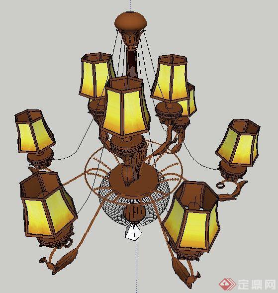 美式风格吊灯,壁灯su模型(2)
