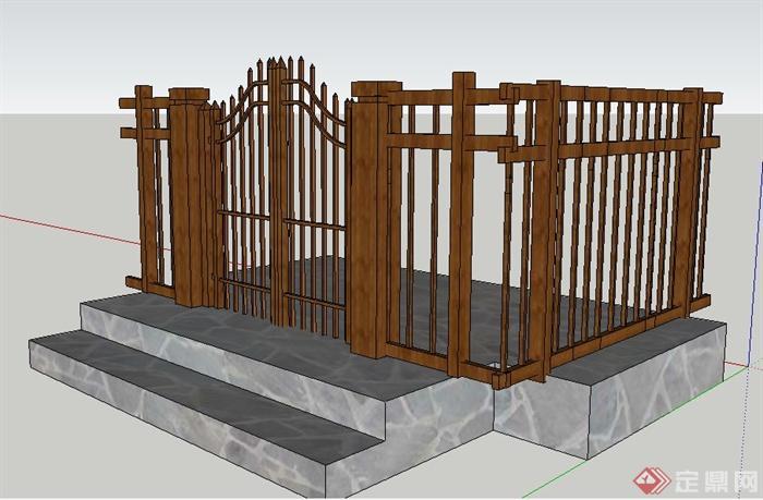 中式木制花园门及围栏su模型