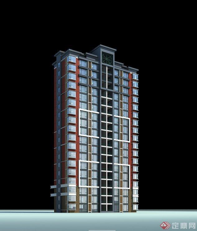 现代某高层住宅建筑设计cad楼层平面图与jpg建筑立面图效果图[原创]