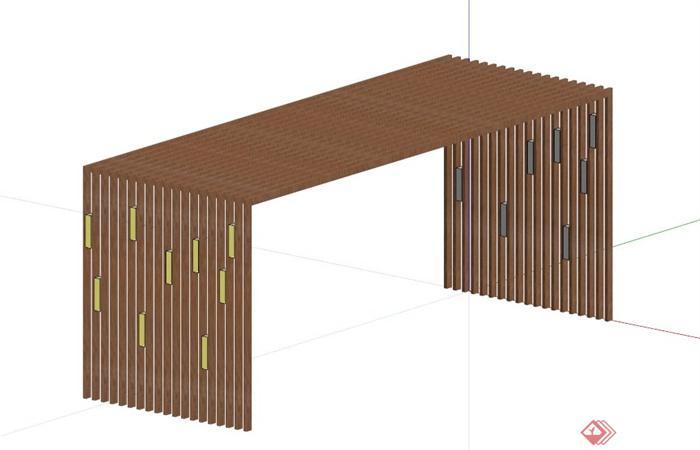 木质门廊设计su模型