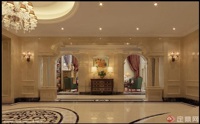 某欧式多层别墅室内装修设计cad施工图与jpg效果图[]