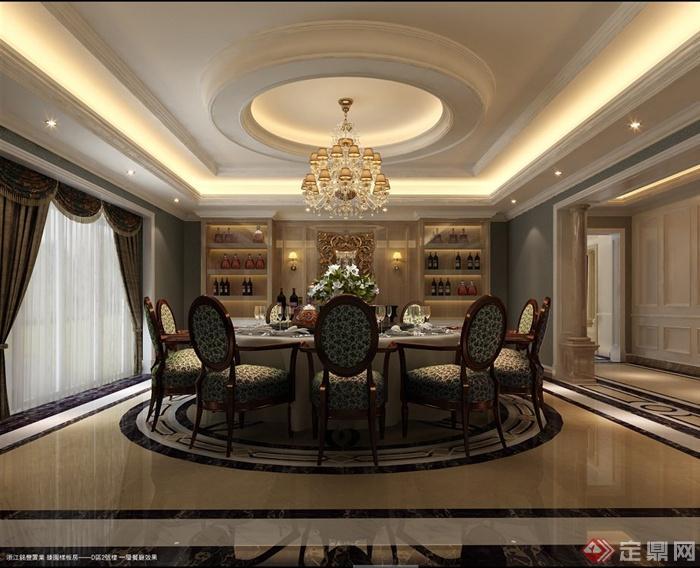 某欧式多层别墅室内装修设计cad施工图与jpg效果图