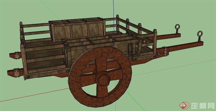 某木制马车设计su模型