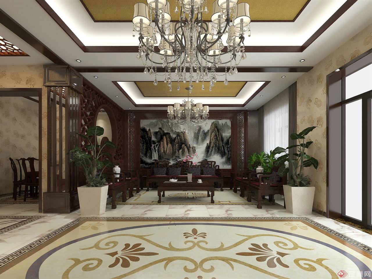 中式别墅室内装修图-大鹏室内装饰设计