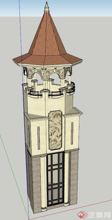 欧式眺望塔设计su模型