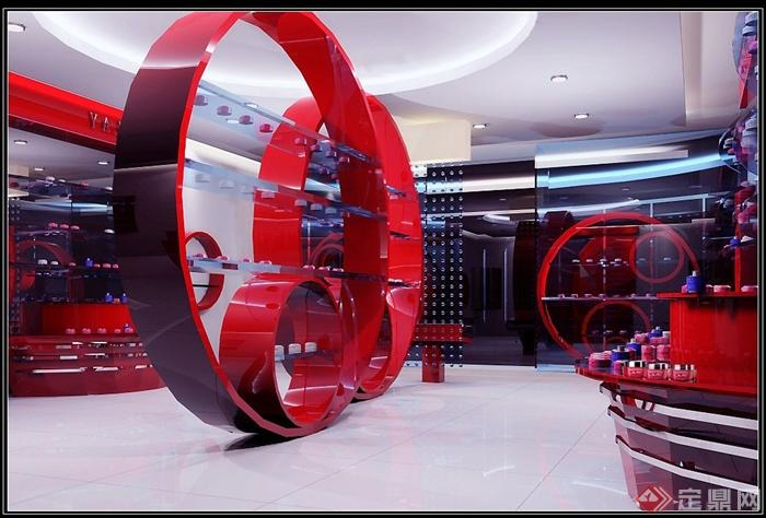 某化妆品专卖店室内装修设计CAD施工图与JPG效果图高清图片