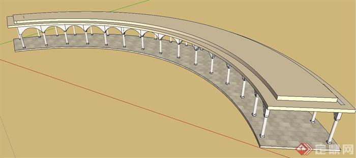 简约欧式弧形景观长廊设计su模型
