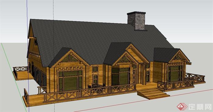 美式乡村别墅住宅建筑设计su模型