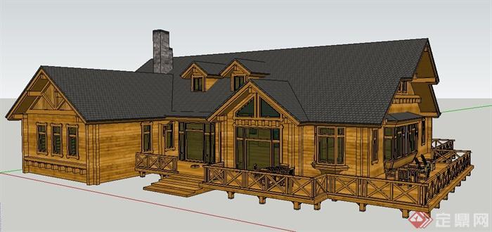 美式乡村风格别墅建筑设计su模型(1)图片