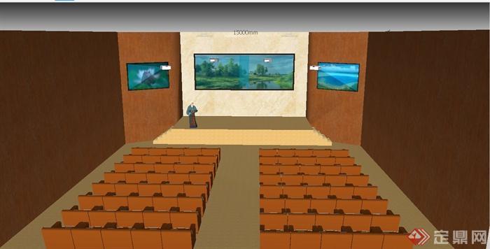 现代某多媒体报告厅装修设计su模型(1)