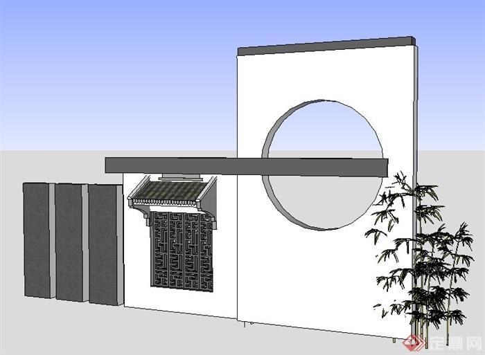 现代简约中式风格景墙su模型(1)