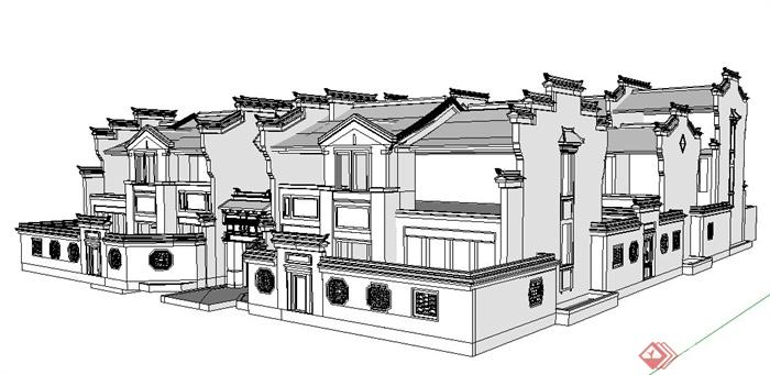 中式风格联排别墅建筑设计su白模