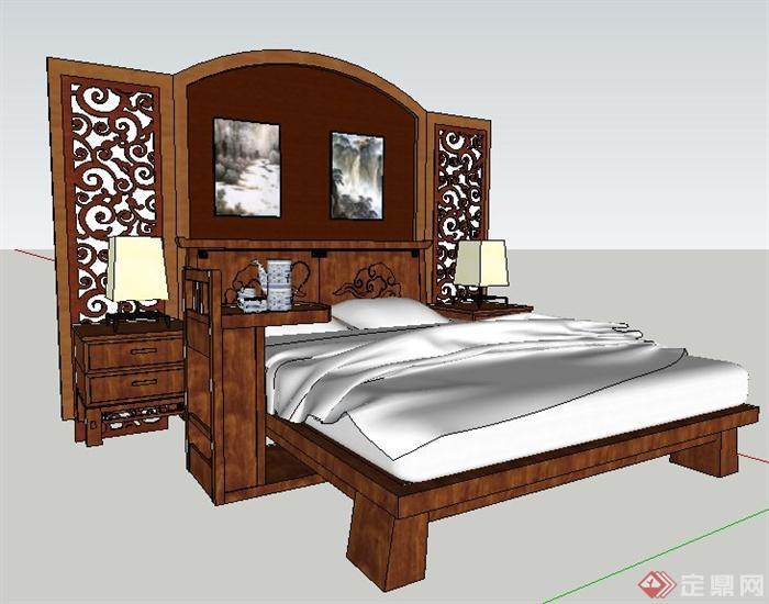 现代中式风格床及床头背景su模型(1)图片
