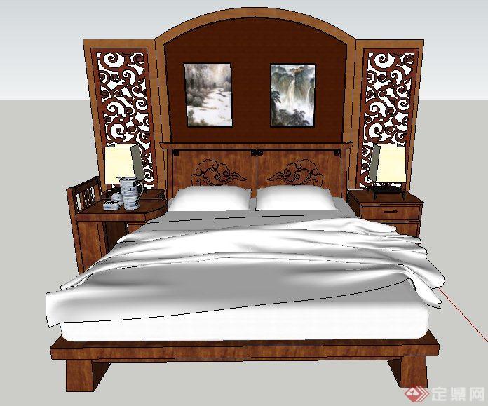 现代中式风格床及床头背景su模型(3)图片