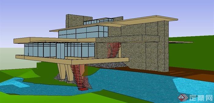 现代简约流水别墅住宅建筑设计su模型
