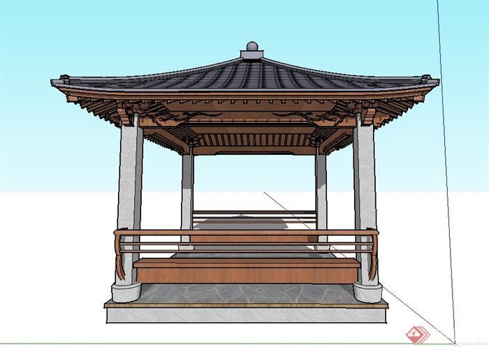 园林景观古典中式四角亭子设计su模型图片