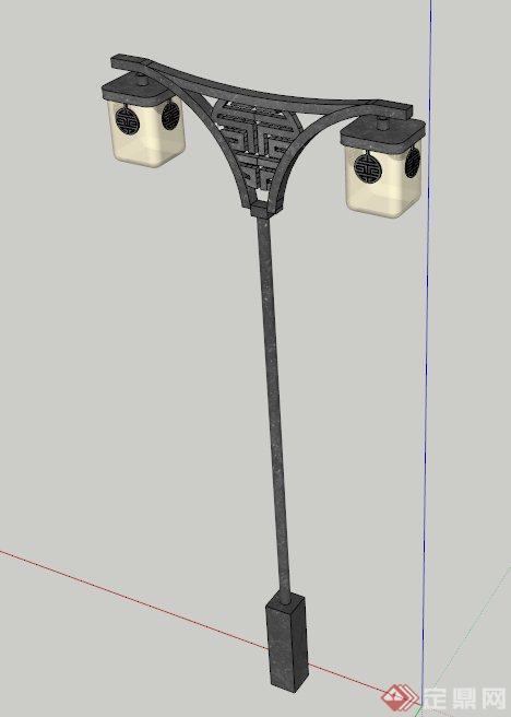 新中式庭院路灯设计su模型,灯具设计风格突出,造型独特,模型制作精细图片