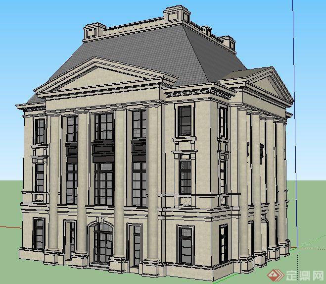 某地欧式风格3层办公楼建筑设计su模型