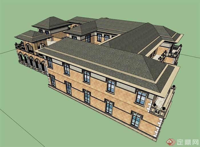 某欧式双层会所建筑设计su模型