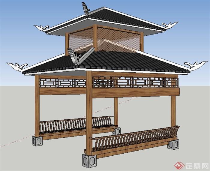 中式风格四角重檐亭su模型图片